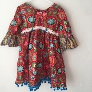 Haute Baby Paisley Print Bell Sleeve Tunic Dress